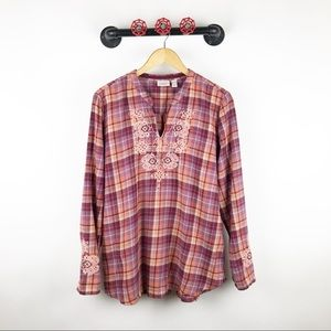Logo embroidered flannel blouse